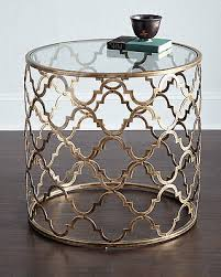 horchow antique gold french moroccan round side table fretwork 630 new