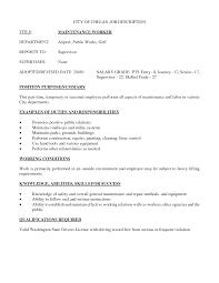 Resume Resume For Maintenance Worker
