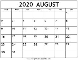August 2020 Calendar Template Free Printable Calendar Com