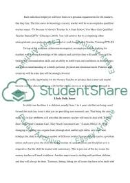 nursery teacher essay example topics and well written essays  nursery teacher essay example
