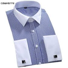 <b>CARFANTE Men's</b> Dress long sleeve French Cufflink striped shirt 5 ...