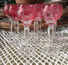 nachtmann traube ruby cut to clear cordial wine glasses set of 9 misssmithvt ruby lane