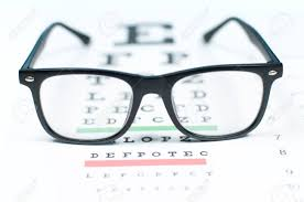 Eye Vision Test Chart Seen Through Eye Glasses Prescription