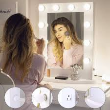 chende hollywood makeup vanity mirror with lights bedroom lighted standing mirror with dimmer led cosmetic mirror with 10 dimmable bulbs wall mounted