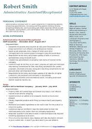 Resume Template Executive Assistant Administrative Assistant Receptionist Resume Samples