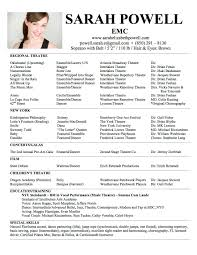 Musical theatre resume template acting example sample actor word pin on  intended for template