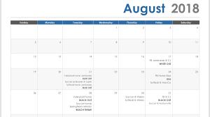 August Theme Calendar