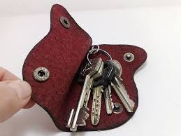 Handmade red <b>patent</b> MXS genuine leather Key Holder / case with ...