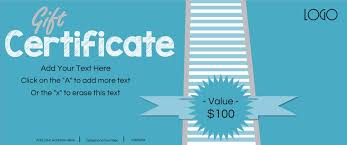 gift certificate template logo light blue stripes customize