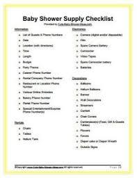 Free Baby Shower Supply Checklist Baby Shower Ideas Baby Shower