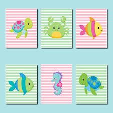 fish wall art for kids bathroom