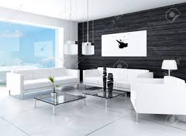 Black And White Living Room Modern Design Black And White Living Room Interior Stock Photo
