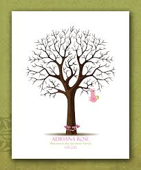 Custom Baby Shower Fingerprint Tree Personalized Baby