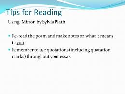 mirror by sylvia plath sylvia plath was born on  tips for reading using mirror by sylvia plath