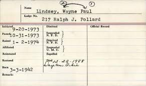 Lindsey, Wayne Paul 9-20-1973 Passe~ 0-31-1973 3-3-19 2 217 Ralph J. Pollard