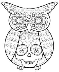 Day Of The Dead Coloring Page Day Of The Dead Coloring Book Owl By