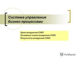 Презентация на тему Система управления бизнес процессами Цели  1 Система управления бизнес процессами Цели внедрения СУБП Основные этапы внедрения СУБП Результаты внедрения СУБП