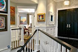 white interior front door. Benjamin Moore Stonington Gray, White And Black Stair Railings, Wainscoting, Front Doors Interior Door R
