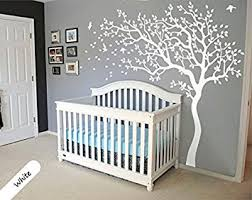 White Tree Wall Decal Huge Tree Wall Decal Wall Mural Stickers Nursery Tree  and Birds Nature