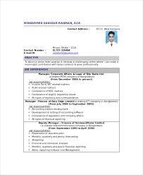 Fresher Chartered Accountant Resume