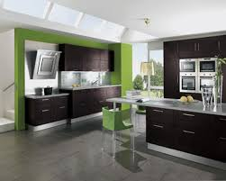Grey Flooring Tile In Modern Kitchen Design With White Wall Paint