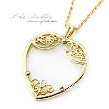 magnifying glass necklace heart shaped gold chain gold lens las necklace women women s gifts thank you gift accessories elegant outing invited heartful