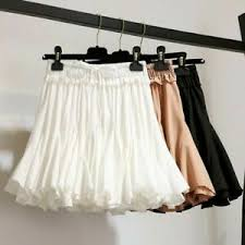 Ebay Asian Size Chart Details About Women Summer Short Puff Skirt Sweet A Line Solid Color Lace Up