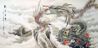 chinese dragon paintings phoenix and fire dragon