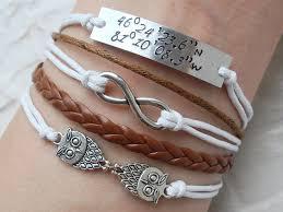 custom laude longitude bracelet hand sted gps coordinates gps bracelet end infinity owl bracelet friendship jewelry
