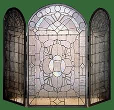 leaded glass and bevels fire screen fireplace