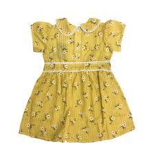 Váy bé gái cổ sen tay bông hoa nhị vàng M20HCM