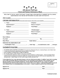 Fillable Online Client And Patient Information Sheet Pet Name Owner