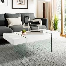 Modern coffee tables white White Glass Target Jacob Glass Leg Modern Coffee Table White Safavieh Target
