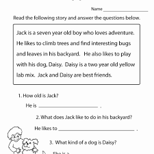 Kids 1st Grade Reading Worksheet And Answer Questions Worksheets