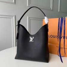louis vuitton calf leather lockme hobo shoulder bag m52776 black