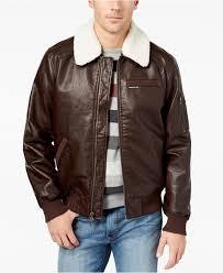 brown men s fleece collar er jacket for men lyst view fullscreen