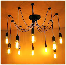 edison light bulb chandelier industrial lighting pendant mixed line bare with reclaimed