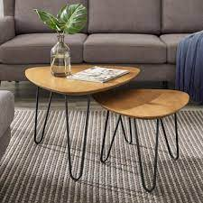 Add to compare compare now. Walker Edison Furniture Company Hairpin 2 Piece 24 In English Oak Medium Triangle Wood Coffee Table Set With Nesting Tables Hd8449 The Home Depot