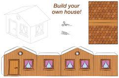 Wooden House Template Paper Model Stock Vector