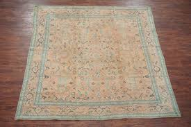 9x9 square antique agra area rug hand knotted cotton carpet ca 1920 7 8