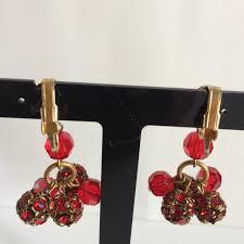 siam red ab swarovski faceted bead chandelier clip earrings red crystal bead dangle drop earrings
