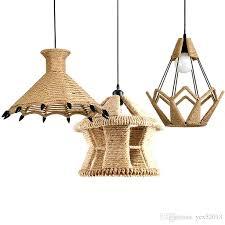 industrial retro creative pendant lights woven hemp rope diamond cages pendant lamp for restaurant bar cafe hanging light ceiling pendant pendant
