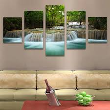 no frame 5 pcs waterfall painting canvas wall  on framed canvas wall prints with 5 panel waterfall painting canvas wall art picture home decoration