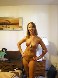 Amateur Shaved Blonde Girlfriend with Pierced Nipples Image.