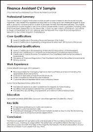 Finance Assistant Cv Sample | Myperfectcv