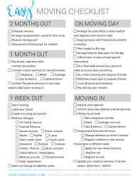 Free Printable Moving Checklist Personalized Moving Cards