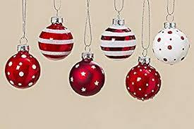 6 Stk Glas Weihnachtskugeln Rot Weiss Punkte Streifen