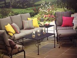 black iron outdoor furniture. Rod Iron Patio Furniture With Colourful Pillows And Cushions Colored Brown Black Outdoor