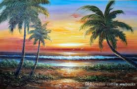 2018 framed island beach sunset surf hawaii palms pure hand painted seascape art oil painting on thick canvas multi sizes j031 from coffee starbucks