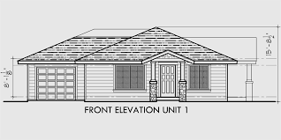house front drawing elevation view for d 497 single story duplex house plans corner